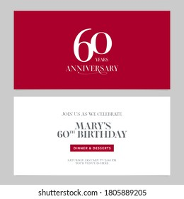60 years anniversary invitation vector illustration. Graphic design double-sided template for 60th anniversary party invite