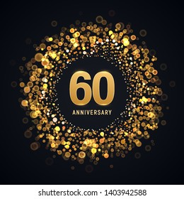 60 years anniversary isolated vector design element. Sixty birthday logo with blurred light effect on dark background