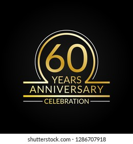 60 years anniversary logo. 60th Birthday celebration icon. Party invitation, Jubilee celebrating emblem or banner. Vector illustration.