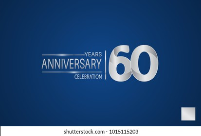 60 years anniversary logo with elegance silver color isolated on blue background for celebration event