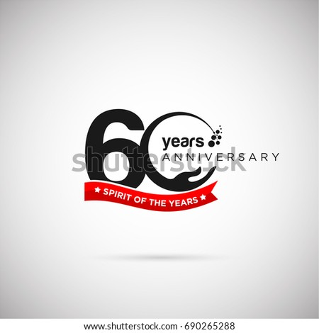 60 years anniversary logo template ribbon のベクター画像素材