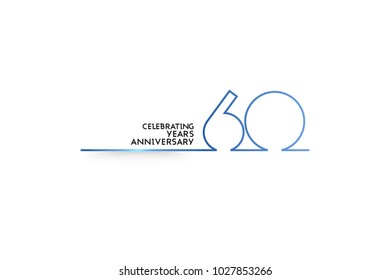 60 Years Anniversary logotype with blue colored font numbers made of one connected line, isolated on white background for company celebration event, birthday