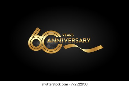 60 Years Anniversary Logotype with  Golden Multi Linear Number and Gold Ribbon, Isolated on Black Background