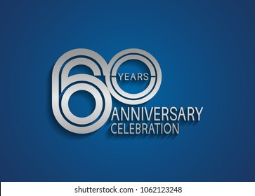 60 years anniversary logotype with multiple line silver color isolated on blue background for celebration event