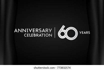 60 Years Anniversary Logotype with   Silver Multi Linear Number Isolated on Dark Background