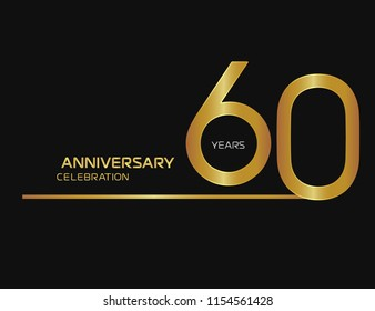 60 years anniversary logotype with single line golden and silver color for celebration