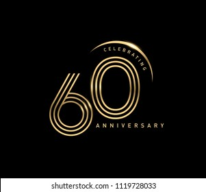 60 years anniversary logotype with swoosh line golden color for celebration. Anniversary logo with ring and elegance golden color isolated on black background