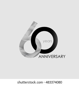 60 Years Anniversary with Low Poly Design, colored with geometric style