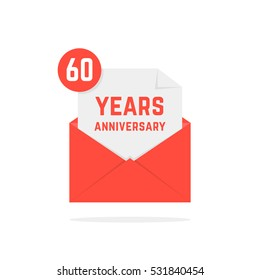 60 years anniversary missive in red envelope. concept of send sms, e-mail, decorative feast, success, advertisement typography. flat style trend modern logotype graphic design on white background