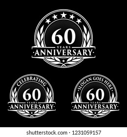 60 years anniversary set. 60th celebration logo collection. Vector and illustration.