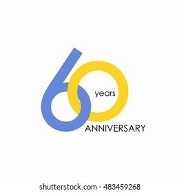 60 years anniversary, signs, symbols, which is yellow and blue with flat design style