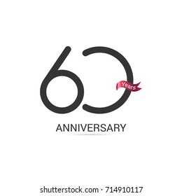 60 Years  Anniversary Simple Logo Celebration Isolated on White Background