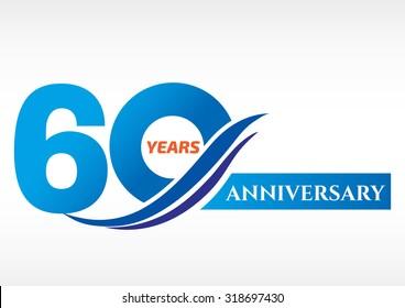 60 years anniversary Template logo