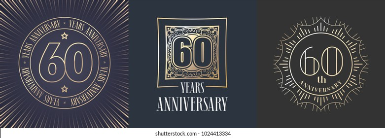 60 years anniversary vector icon,  logo set. Graphic round gold color design elements for 60th anniversary banner