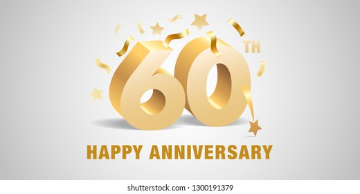60 years anniversary vector icon,  logo. Graphic design template with  golden 3d numbers and festive elements for 60th anniversary