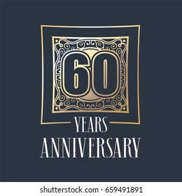 60 years anniversary vector icon,  logo. Graphic design element with  golden frame and number for 60th anniversary decoration