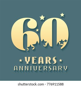 60 years anniversary vector icon, symbol, logo. Graphic design element for 60th anniversary birthday card
