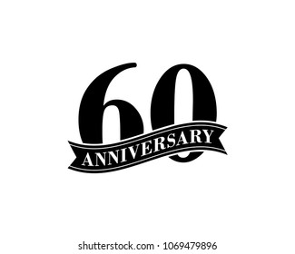 60 Years Anniversary Vector Logo Design Template. 60th Birthday Celebration.