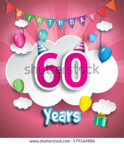 60 Years Birthday Design For Greeting Cards And Poster With Clouds Gift Box