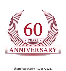 60 years design template. 60th anniversary. Vector and illustration.