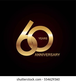 60 years gold anniversary celebration simple logo, isolated on dark background