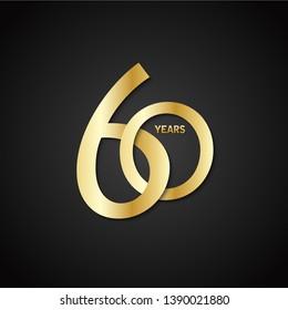 60 YEARS gold vector interlocking icon on black background