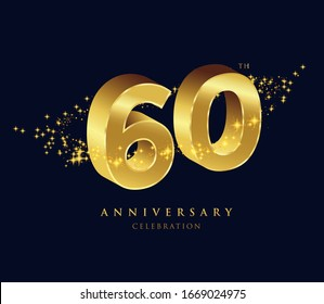 60 years golden 3D anniversary celebration logo vector.