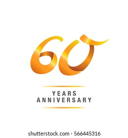 60 years golden anniversary celebration logo , isolated on white background