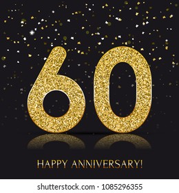 60 years Happy anniversary banner with gold elements. Vector illustration.