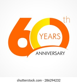 60 years old celebrating classic logo. Colored happy anniversary 60 th template numbers. Greetings celebrates. Traditional framed digits of ages. Special prize, % off, O or 0. Card's or label's idea.