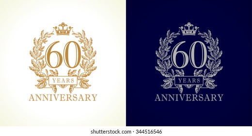 60 years old luxurious logotype. Congratulating 60th numbers gold colored template framed in palms. Isolated greetings celebrates. Celebrating traditional sixty in branches. Six, 6th place of win.