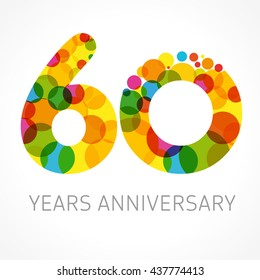 60 Years Old Multicolored Logotype Congrats 60th Greetings Congratulations Pattern Template Isolated Shape