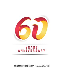 60 Years  Red and Yellow  Anniversary  Logo Celebration Isolated on White Background