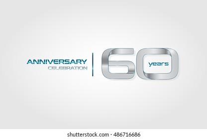60 years silver anniversary celebration logo, isolated on dark white background