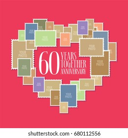 60 years of wedding or marriage vector icon, illustration. Template design element with photo frames and heart shape for celebration of 60th wedding anniversary