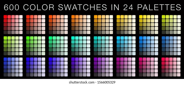 600 color swatches organized in 24 palettes by hue, brightness and saturation. Unique collection of full color spectrum to master color harmony in all your artwork or designs. Ultimate color swatches.