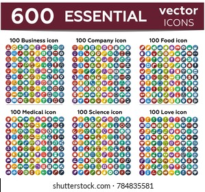 600 essentials thin line icon - business, company, food, medical, science and love