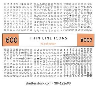 600 Vector thin line icons set for infographics, mobile UX/UI kit and print design. Games, love,wedding, e-commerce, business, documents, web store, electronics, technology.