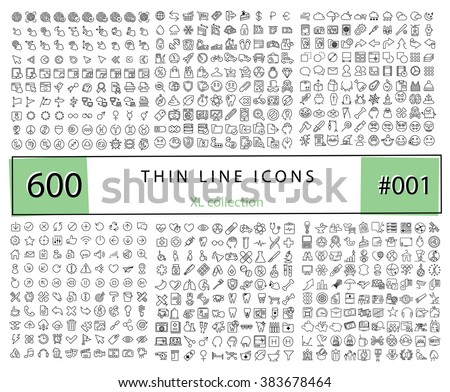 600 Vector thin line icons set for infographics, mobile UX/UI kit and print design. Touch ID, security, medicine, stomatology, technology, telecommunications, halloween.