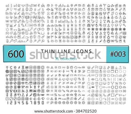 600 Vector thin line icons set for infographics, mobile UX/UI kit and print design