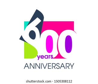 600 years anniversary colored logo isolated on a white background for the celebration of the company. Vector Illustration Design Template