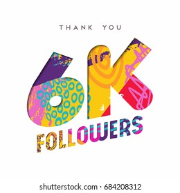6000 followers thank you paper cut number illustration. Special 6k user goal celebration for six thousand social media friends, fans or subscribers. EPS10 vector.