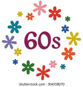 60s flower power retro style design illustration