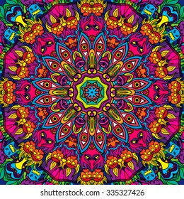 60s hippie psychedelic art seamless pattern vector illustration