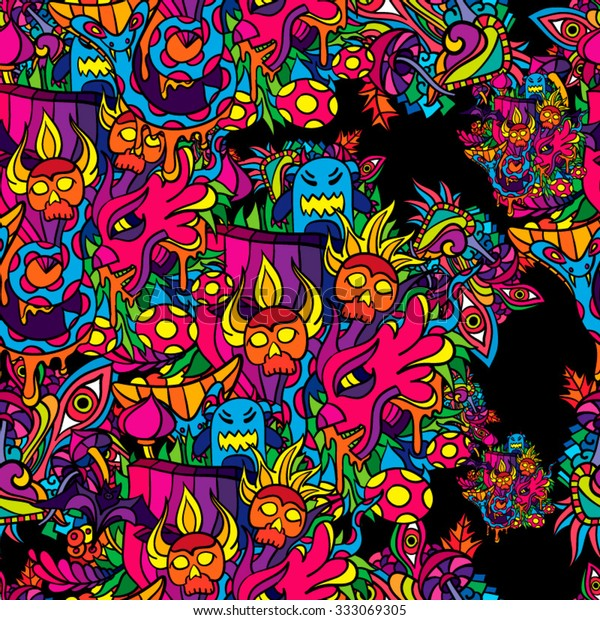 60s Hippie Psychedelic Art Seamless Pattern Stock Vector Royalty Free 333069305