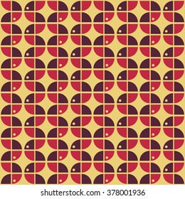 60's inspired, Seamless geometric pattern, retro style, textile and background