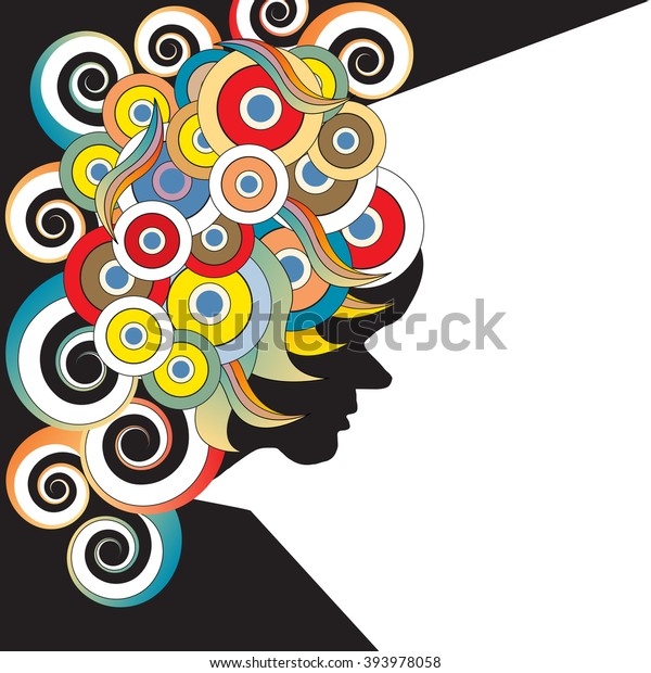 60s Style Psychedelic Poster Space Text Stock Vector (Royalty Free