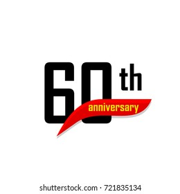 60th Anniversary abstract vector logo. Sixty Happy birthday day icon. Black numbers witth red boomerang shape with yellow text 60 years.