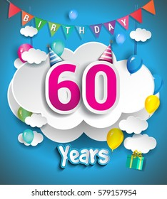 60th Anniversary Celebration Design, with clouds and balloons, confetti. Vector template elements for your, sixty years birthday celebration party.