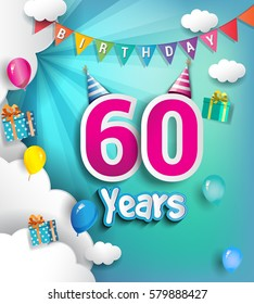 60th Anniversary Celebration Design, with clouds and balloons. using Paper Art Design Style, Vector template elements for your, sixty years birthday celebration party.
